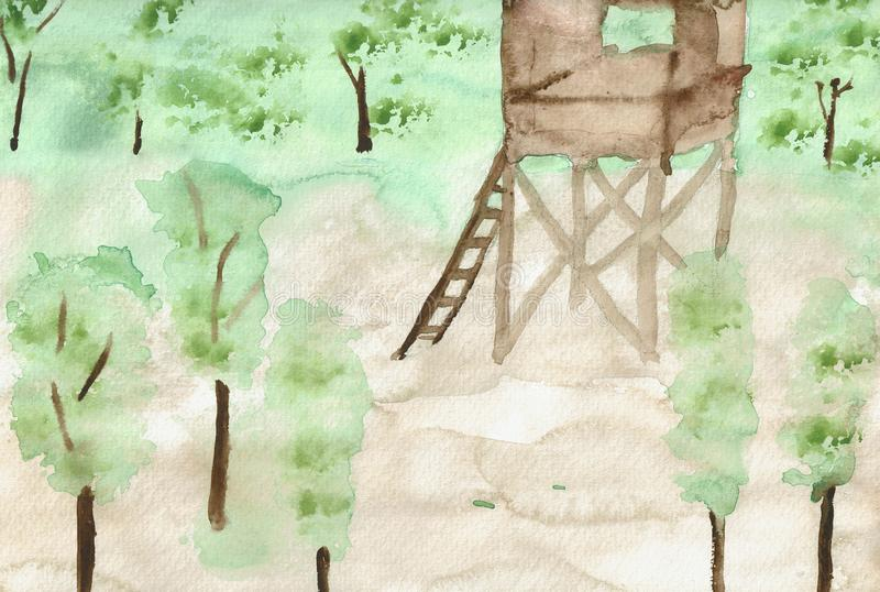 Perch in the Forest - Water Color Painting. This is a hand drawn water color painting. The painting shows a perch in a forest. In the background is row of trees vector illustration