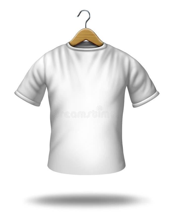 Percha de la ropa en una camisa en blanco stock de ilustración
