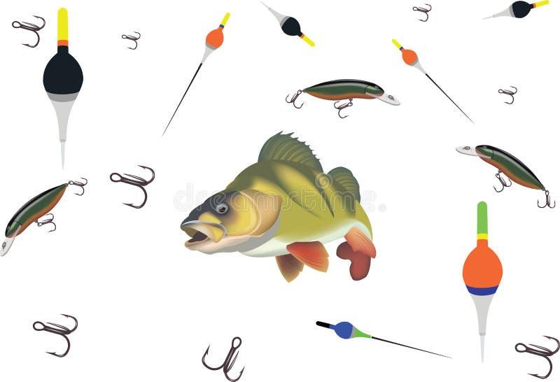 Perche basse d'articles de pêche d'accessoires de sport illustration stock