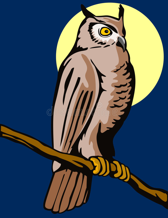 perched filialowl royaltyfri illustrationer