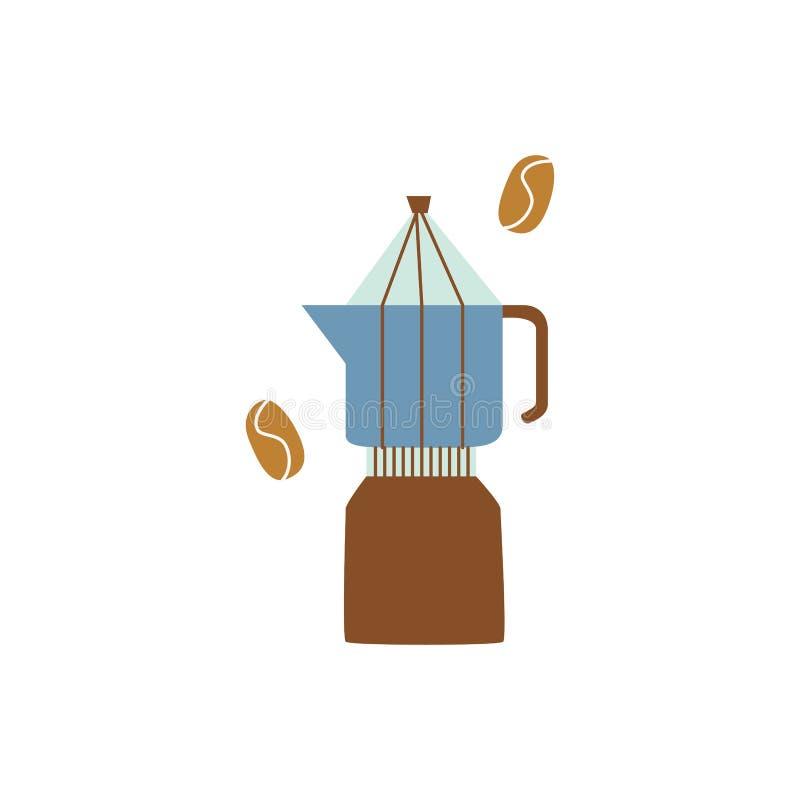 Percolator lub gejzeru kawowy producent w płaskim kreskówka stylu royalty ilustracja