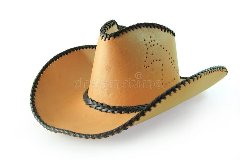 Percorsi di ritaglio, cappello da cowboy isolato su fondo bianco immagini stock libere da diritti