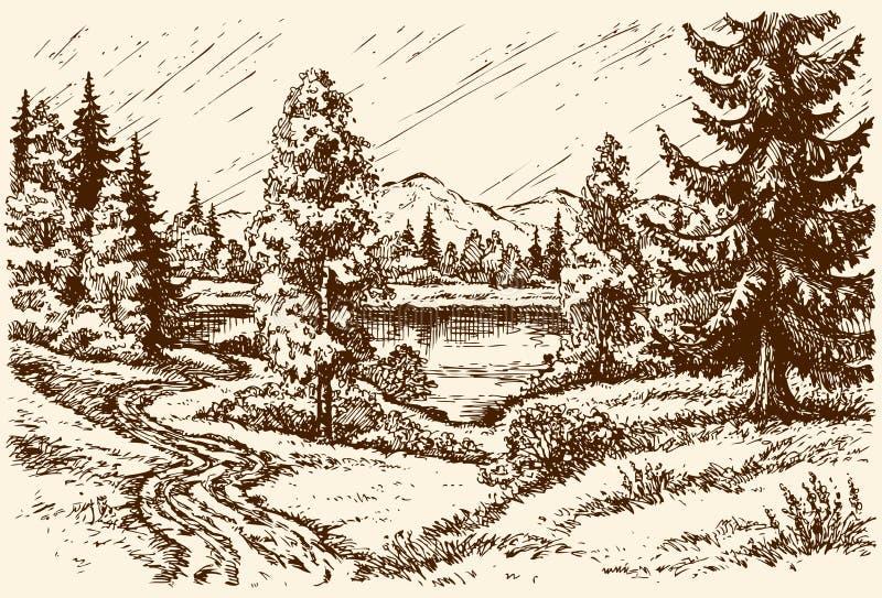 Percorso al lago Paesaggio di vettore royalty illustrazione gratis