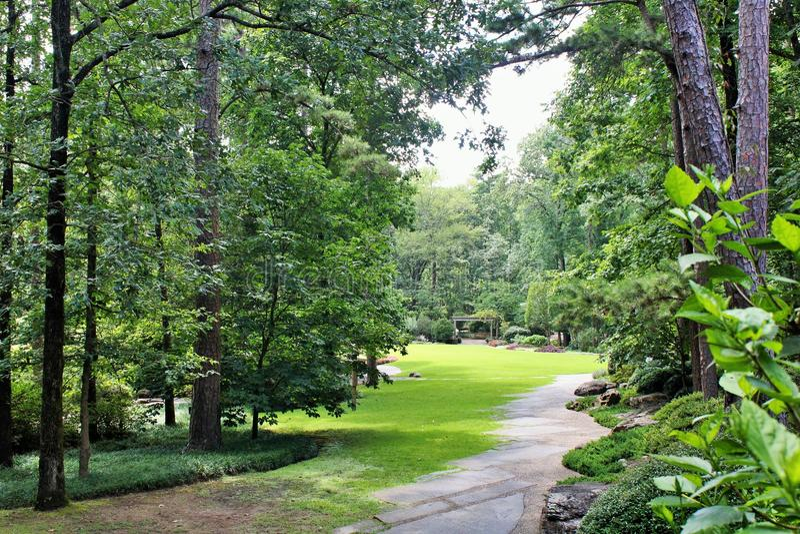Percorso boscoso in giardino fotografie stock
