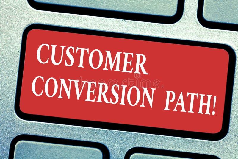 Percorso concettuale di conversione del cliente di rappresentazione di scrittura della mano Punti del testo della foto di affari  immagine stock