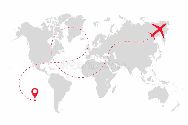 Percorso dell'aeroplano nella linea punteggiata forma sulla mappa di mondo Itinerario dell'aereo con la mappa di mondo isolata su illustrazione vettoriale