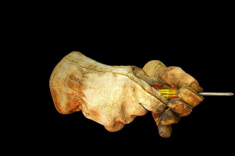 Percorso della clip del cacciavite dei guanti del lavoro fotografie stock libere da diritti