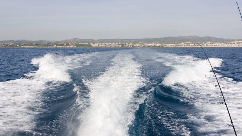 Percorso della coda dell'yacht fotografie stock