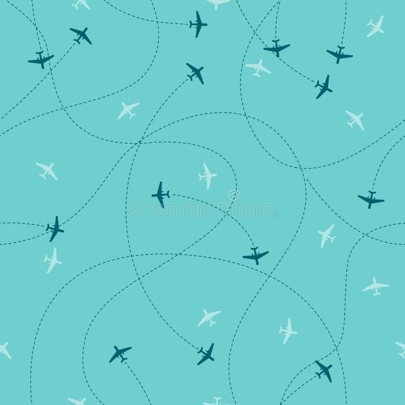 Percorso della linea del velivolo - pattern senza soluzione di continuità sullo sfondo blu del cielo royalty illustrazione gratis