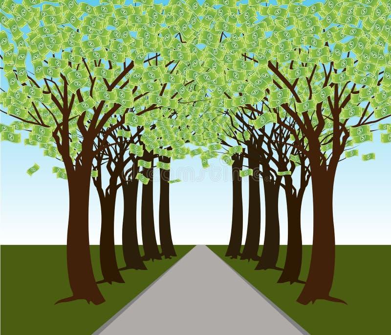 Percorso di foresta dell'albero dei soldi royalty illustrazione gratis