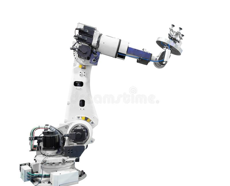 Percorso di ritaglio incluso isolato braccio robot di industria fotografia stock