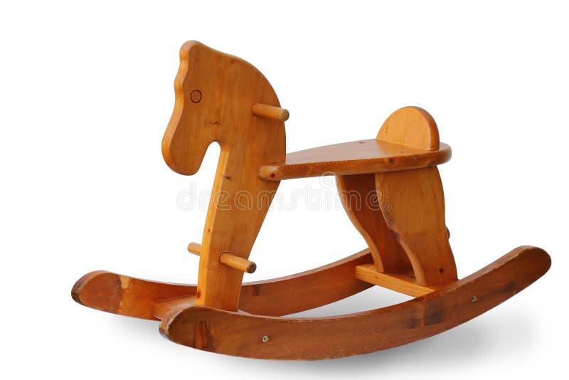 Percorso di ritaglio isolato sedia di legno del cavallo a dondolo del giocattolo fotografie stock libere da diritti