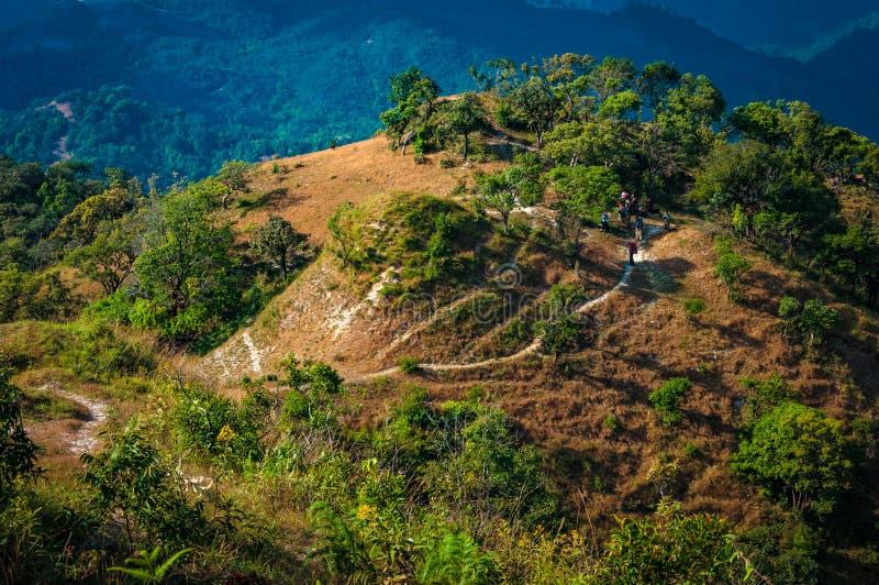 Percorso di trekking sulla montagna in parco nazionale Tak, Tailandia immagini stock libere da diritti