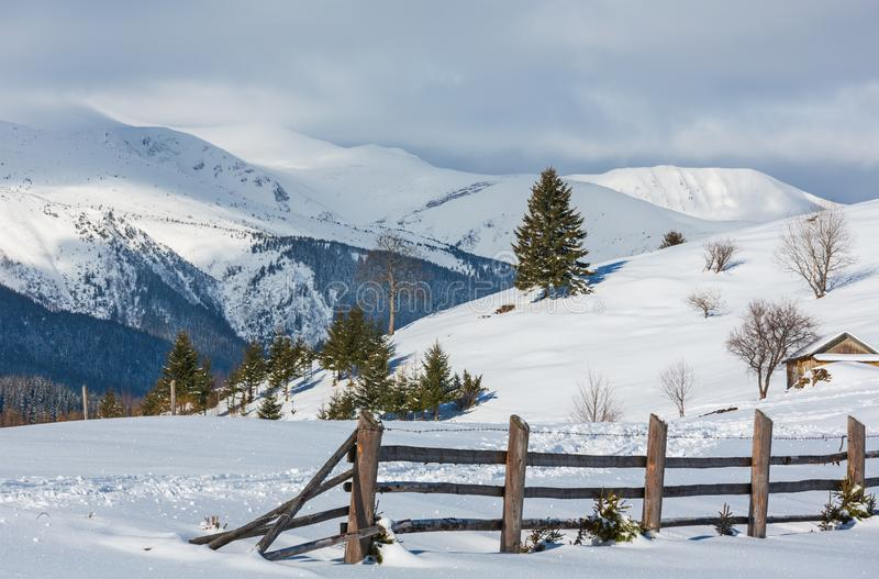 Percorso innevato rurale ed orma della montagna pittoresca di paesaggio di mattina di inverno sulla cima Ucraina, montagne carpat fotografia stock libera da diritti