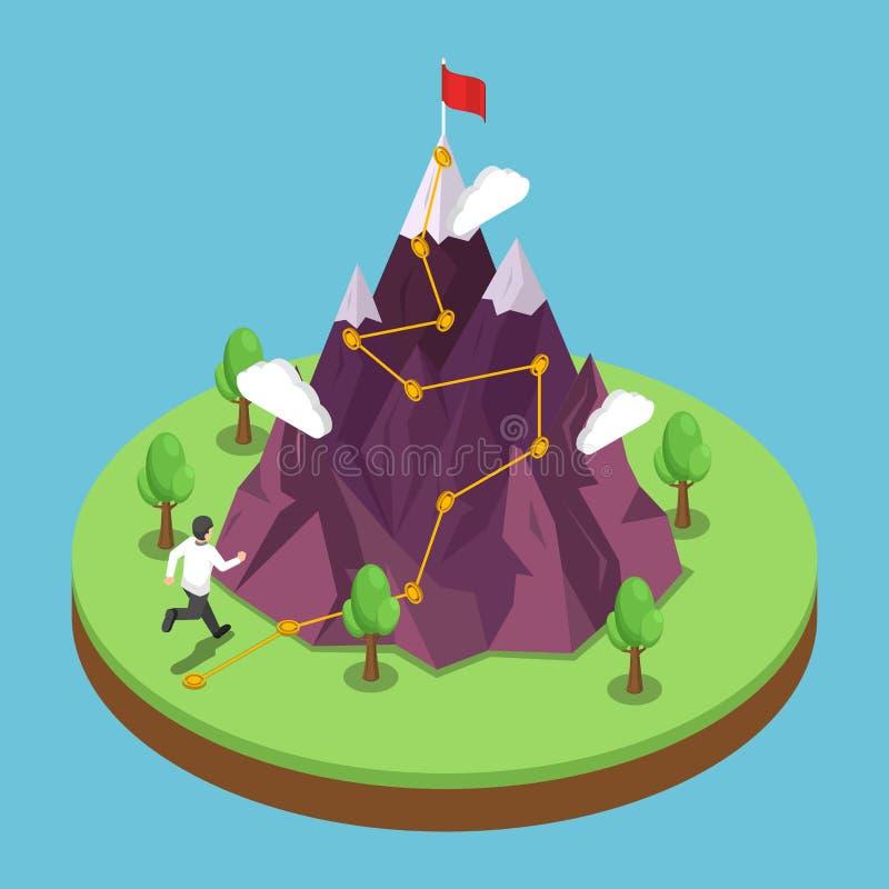 Percorso isometrico di viaggio di affari all'obiettivo di successo sulla cima di illustrazione di stock