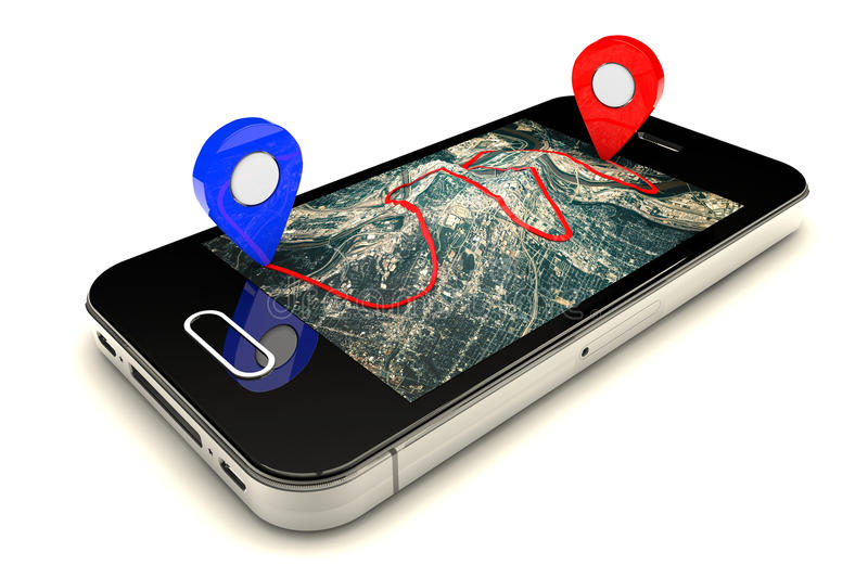 Percorso mobile di GPS illustrazione di stock