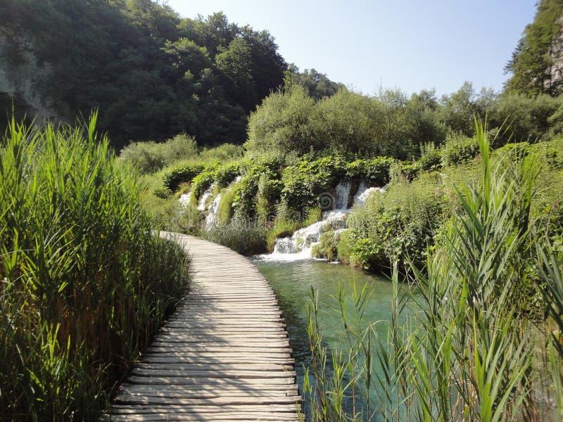 Percorso nel parco nazionale di Plitvice fotografie stock