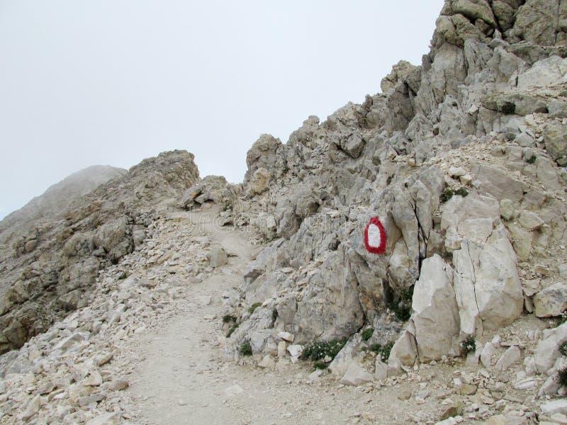 Percorso roccioso in nuvole nella catena montuosa di Apennine fotografia stock