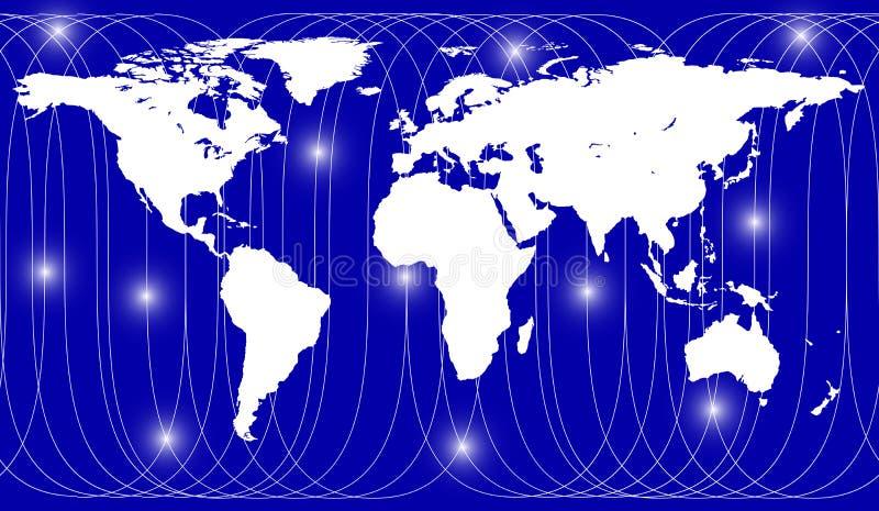 Percorso satellite sopra la mappa della terra illustrazione vettoriale