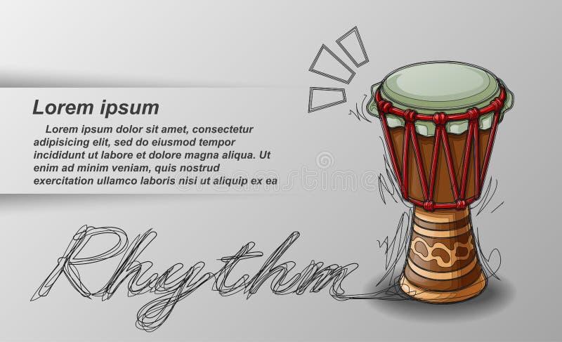 Percusión y texto bosquejados en el fondo blanco ilustración del vector