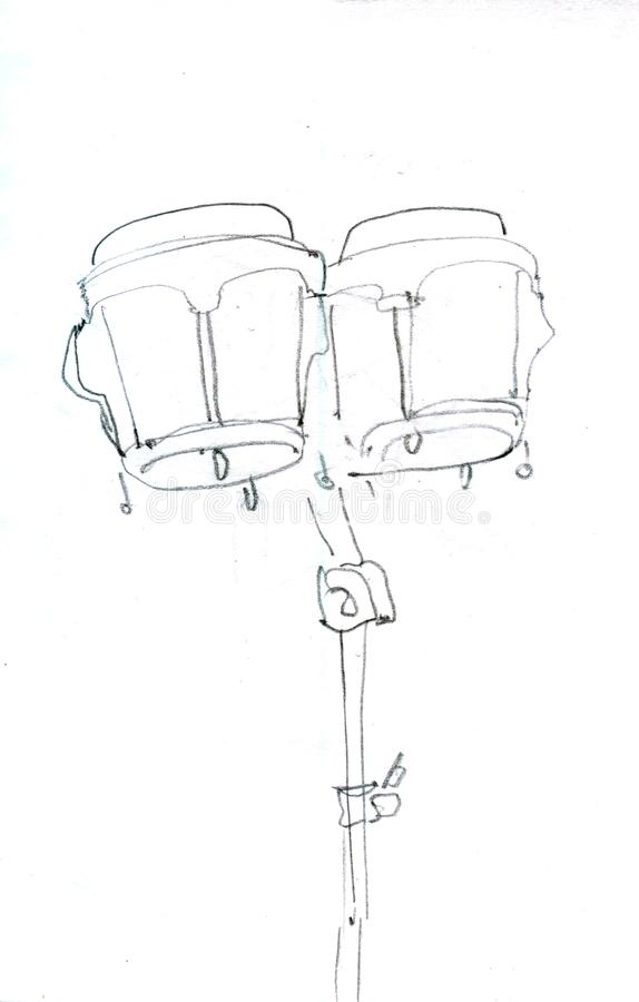 Percussion instrument sketch icon. Hand drawn. royalty free illustration