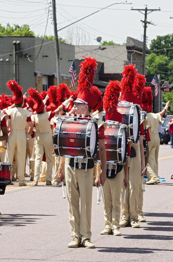 Percussion Section Leads Sibley Band at Mendota Parade. Mendota, Minnesota/USA - July 13, 2019: Drummers lead the Henry Sibley High School Marching Band as it royalty free stock photos