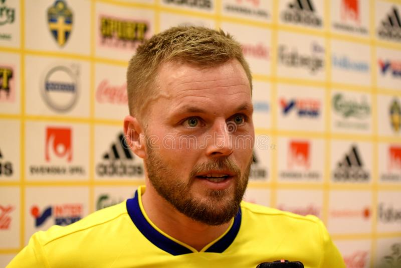 Percussore Marcus Berg della squadra nazionale della Svezia immagini stock libere da diritti
