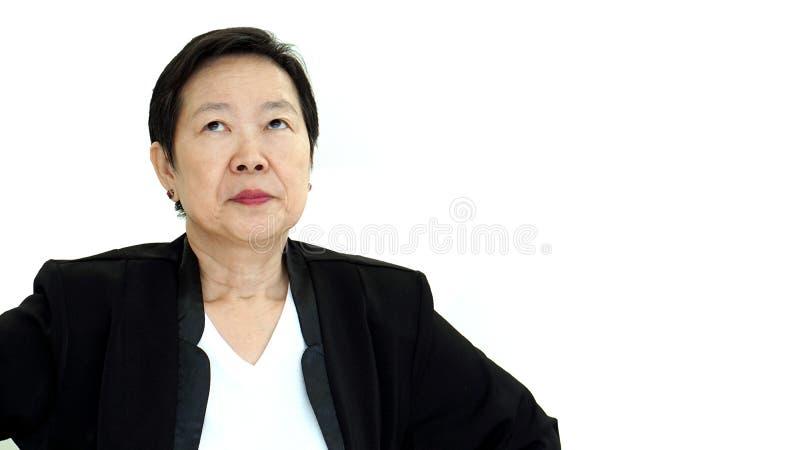 Perda abstrata virada e infeliz da mulher de negócio asiática do alto diretivo no lucro fotos de stock royalty free