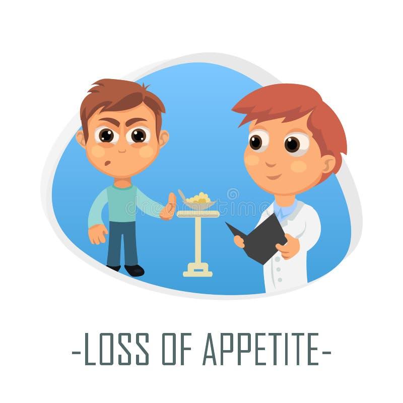 Perda de conceito médico do apetite Ilustração do vetor ilustração do vetor