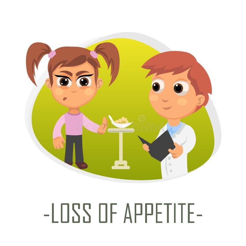 Perda de conceito médico do apetite Ilustração do vetor ilustração stock