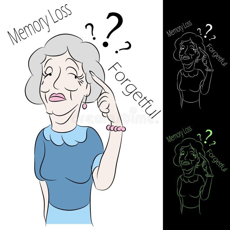 Perda de memória sênior da mulher ilustração royalty free