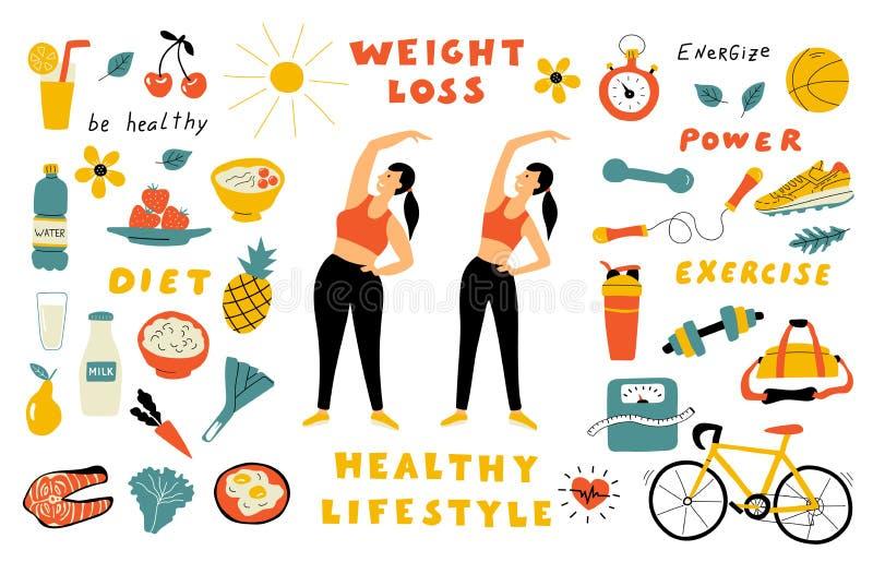 Perda de peso, alimento saudável, garatuja bonito ajustada com rotulação Mulher dos desenhos animados antes e depois da dieta Vet ilustração royalty free