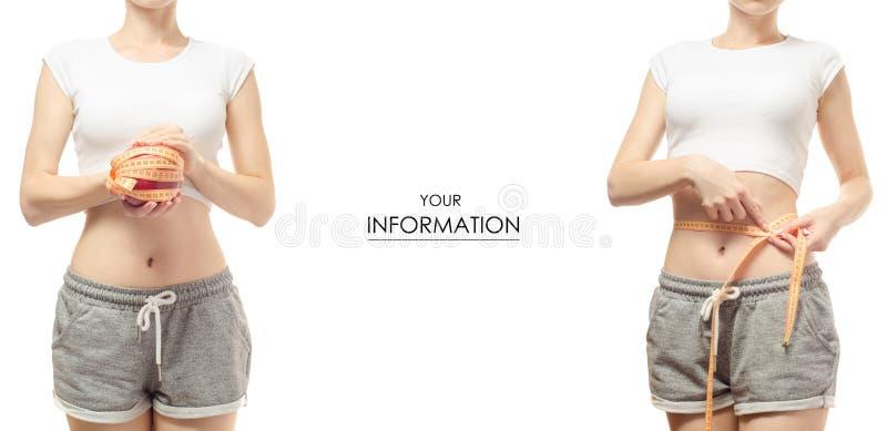 Perda de peso da perda de peso da jovem mulher com um centímetro e um teste padrão ajustado da maçã fotos de stock royalty free