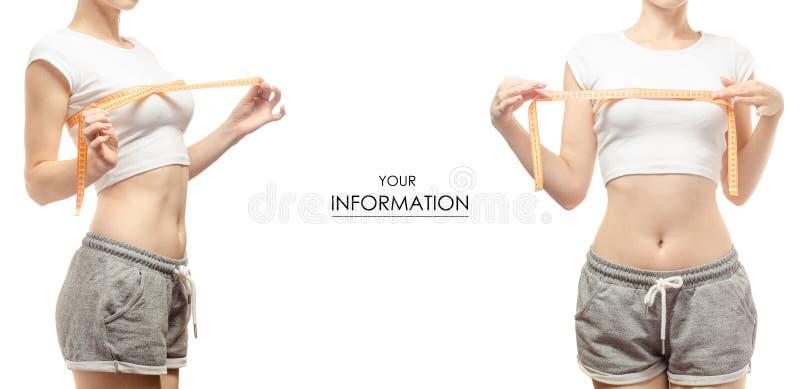 Perda de peso da perda de peso da jovem mulher com um teste padrão ajustado do centímetro fotos de stock royalty free