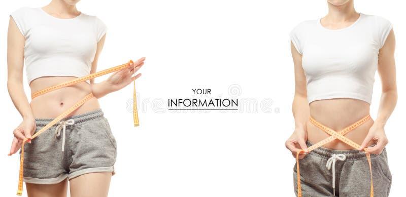 Perda de peso da perda de peso da jovem mulher com um teste padrão ajustado do centímetro imagens de stock