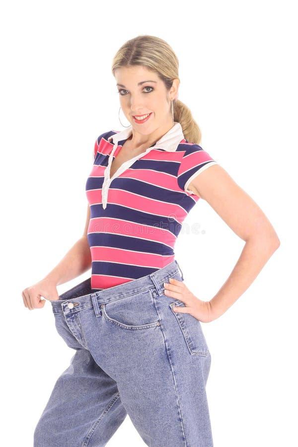 Perda de peso da mulher fotografia de stock