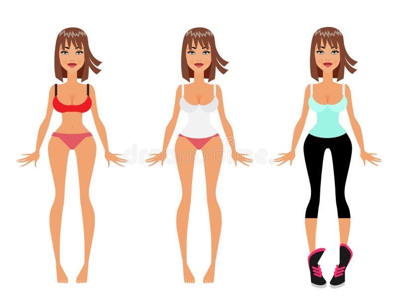 A perda, a dieta e a aptidão de peso vestem acima Girl modelo, ilustração lisa do vetor ilustração royalty free