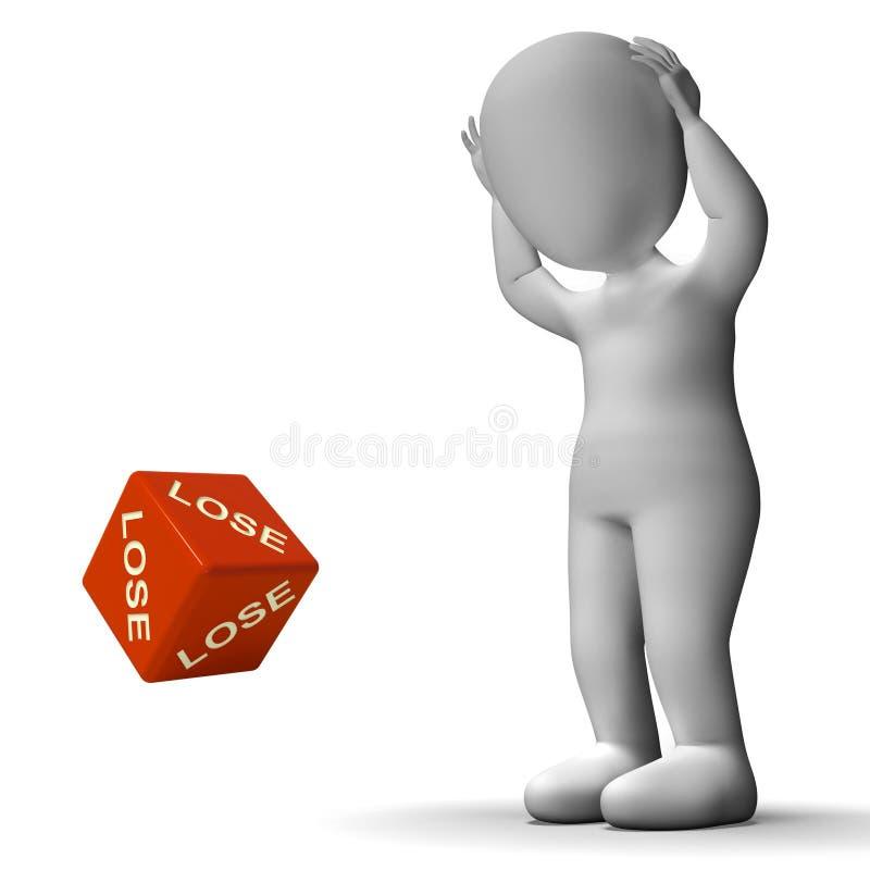 Perda i dadi che rappresentano il guasto e la perdita di sconfitta illustrazione vettoriale
