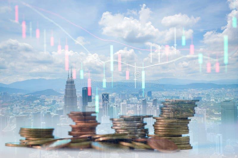 Perdas nos mercados bolsistas da economia mundial em resultado da cotação do mercado externo indicador de investimento nos painéi imagem de stock royalty free