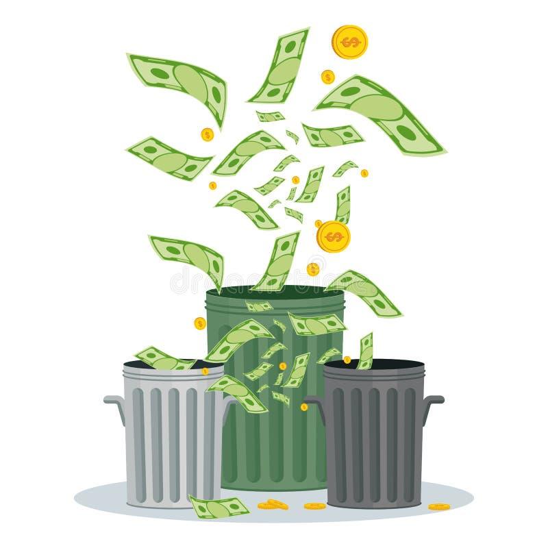 Perder el dinero en compartimiento ilustración del vector
