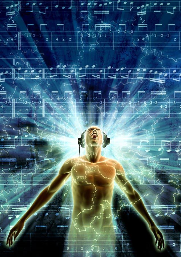 Perdido en música ilustración del vector