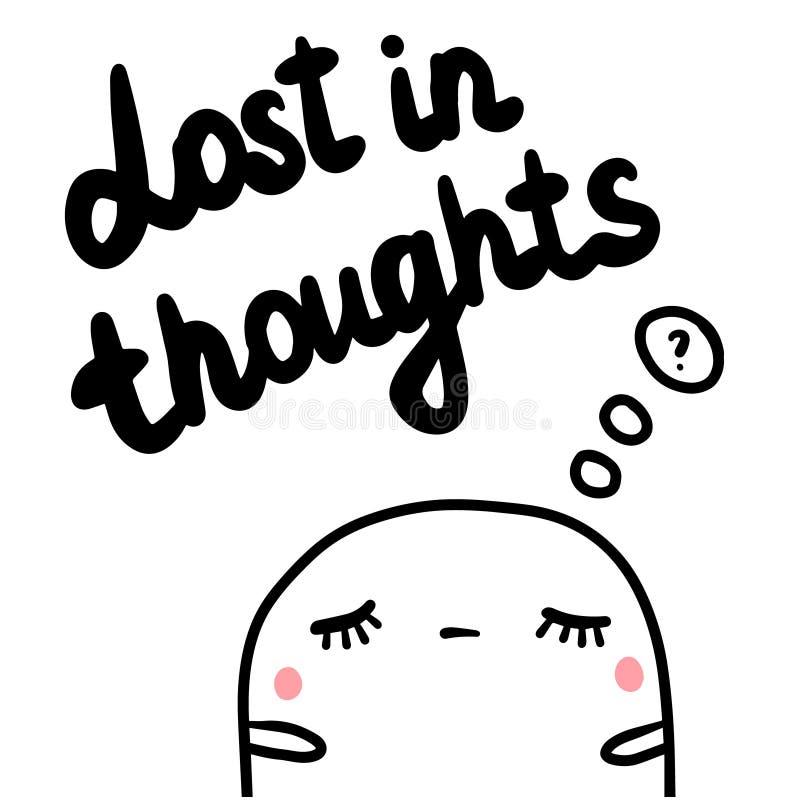Perdido en pensamientos dé el ejemplo exhausto con la melcocha linda ilustración del vector