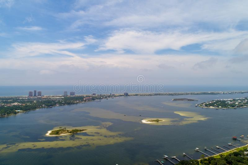 Perdido Key Beach. Aerial view of Perdido Key Beach, Florida and Ono Island, Alabama royalty free stock photography