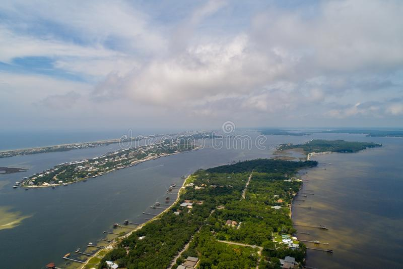 Perdido Key Beach. Aerial view of Perdido Key Beach, Florida and Ono Island, Alabama stock image