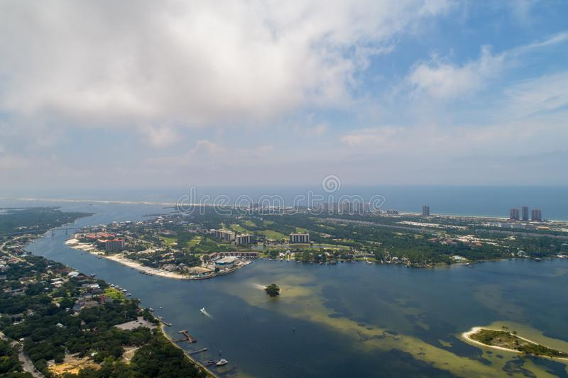 Perdido Key Beach. Aerial view of Perdido Key Beach, Florida and Ono Island, Alabama stock images