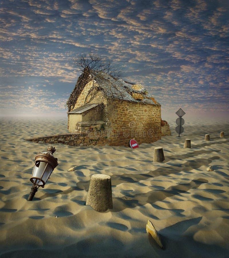 Perdido no deserto ilustração royalty free