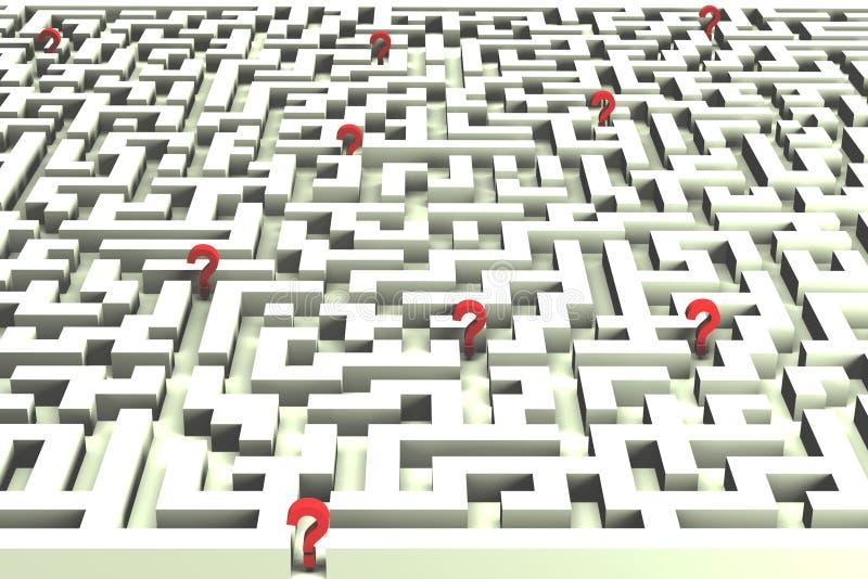 Perdido no labirinto das decisões - imagem 3D ilustração stock