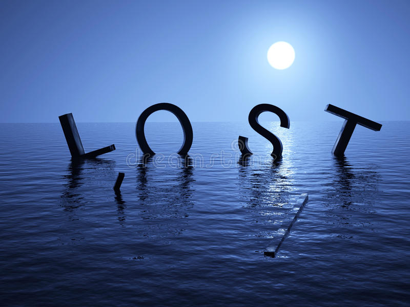 Perdido no mar ilustração do vetor