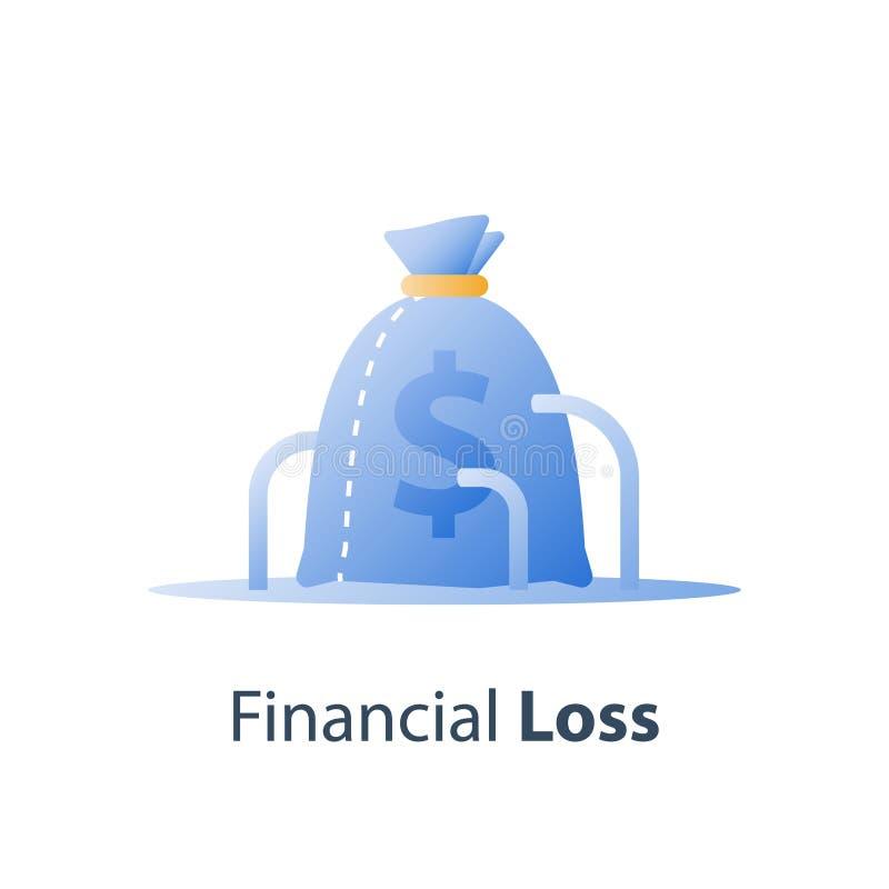 Perdita dei soldi, concetto costato incavato, mancanza di finanza, caduta del mercato azionario, hedge fund di investimento, sval royalty illustrazione gratis