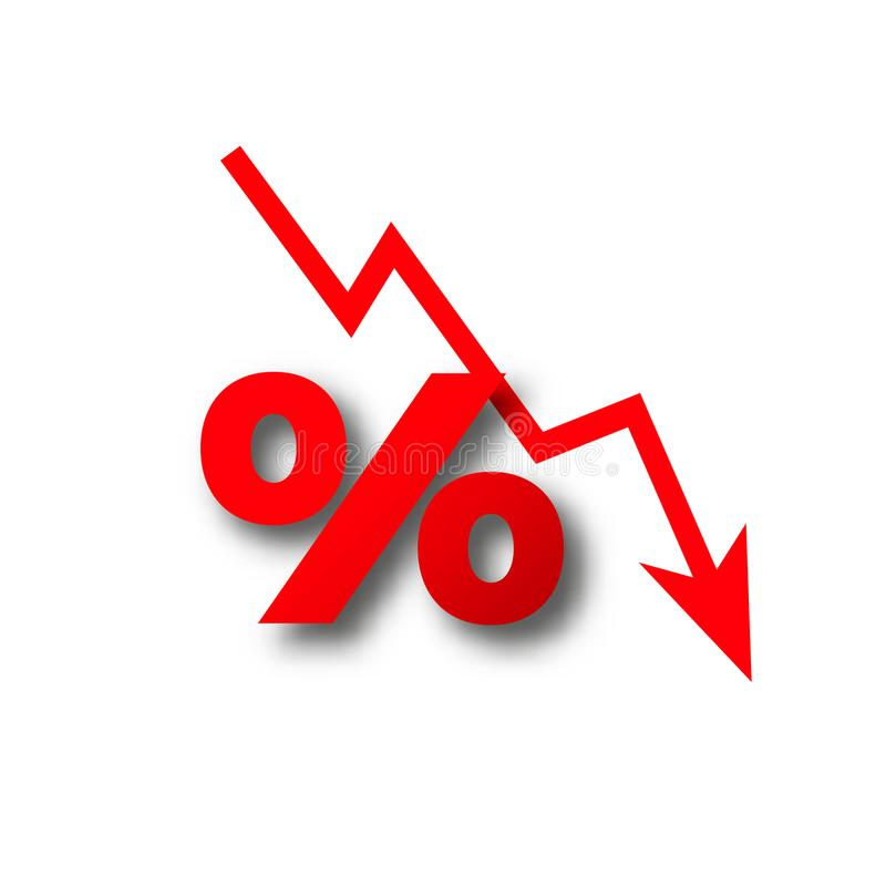 Perdita dei soldi più caduta zero delle percentuali illustrazione di stock